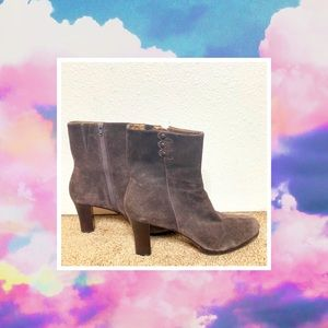 LOFT ANN TAYLOR BROWN SUEDE HEELED ANKLE BOOTIES